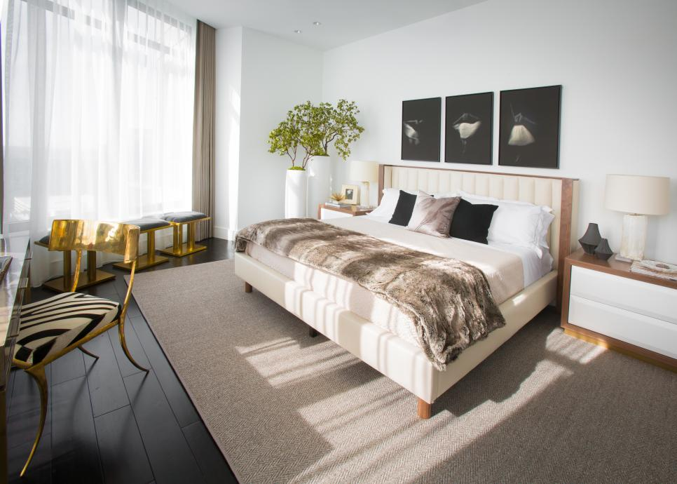 White and Neutral Transitional Master Bedroom