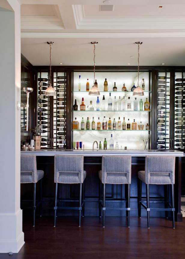 Contemporary Style Bar with Zinc Top