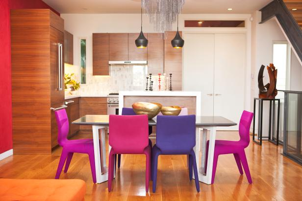 Dining Room With Purple Chairs