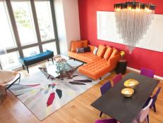 Multicolored Modern Living Room With Red Wall