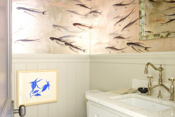 Small Bathroom with Fish Wallpaper