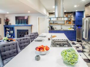 Large Island Provides Generous Storage for Open Kitchen