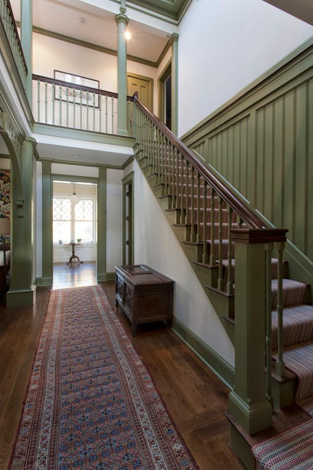 Victorian Stairs With Green Balusters, Columns & Beadboard Paneling