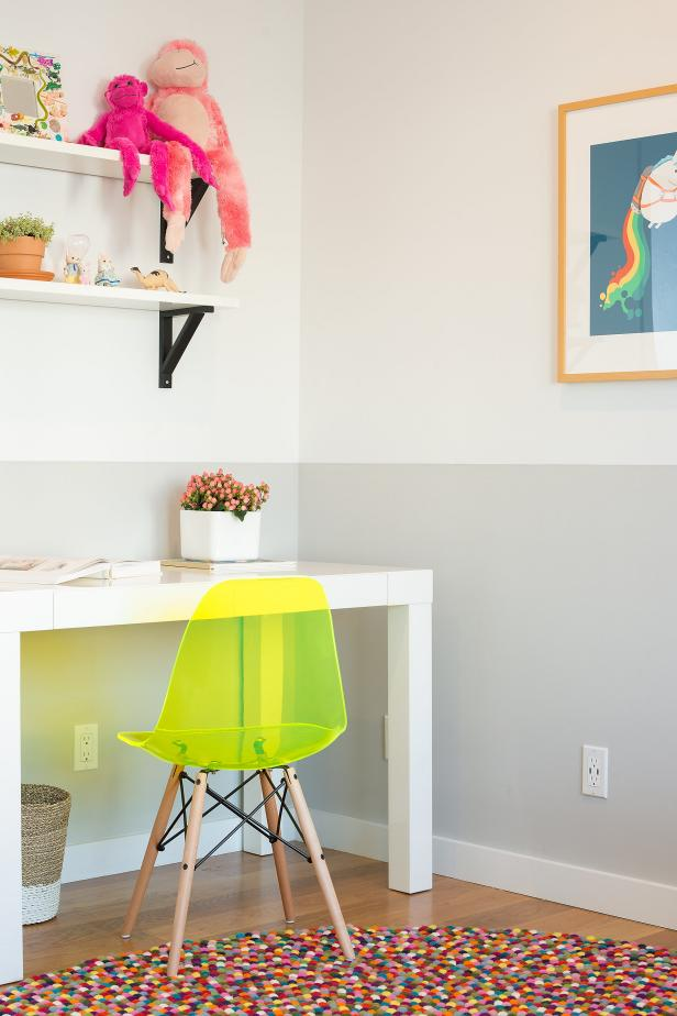 Modern Kids Room With White Desk, Neon Yellow Chair, Multicolor Rug