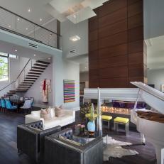 Chic Living Room With Custom Fireplace U0026 Dark Wood Floor
