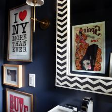 Navy Blue Powder Room With Chevron Framed Mirror