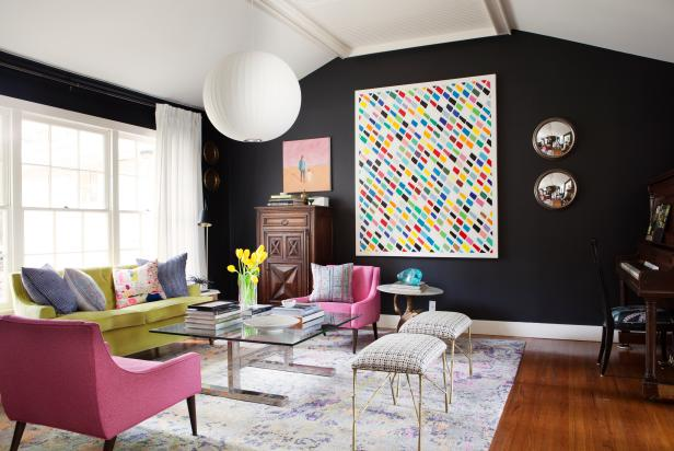 Bursts of Color in Chic, Black Living Room