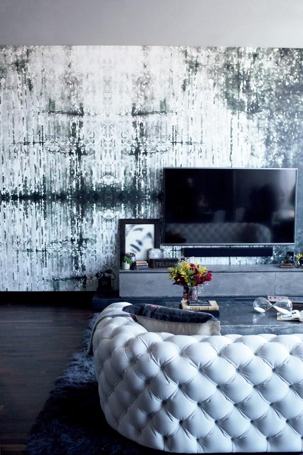 'Rough Luxe' Living Room with High-Drama Details