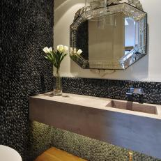Pebble Tile Powder Room with Concrete Sink