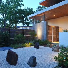 Outdoor Japanese Rock Garden in Private Contemporary Home