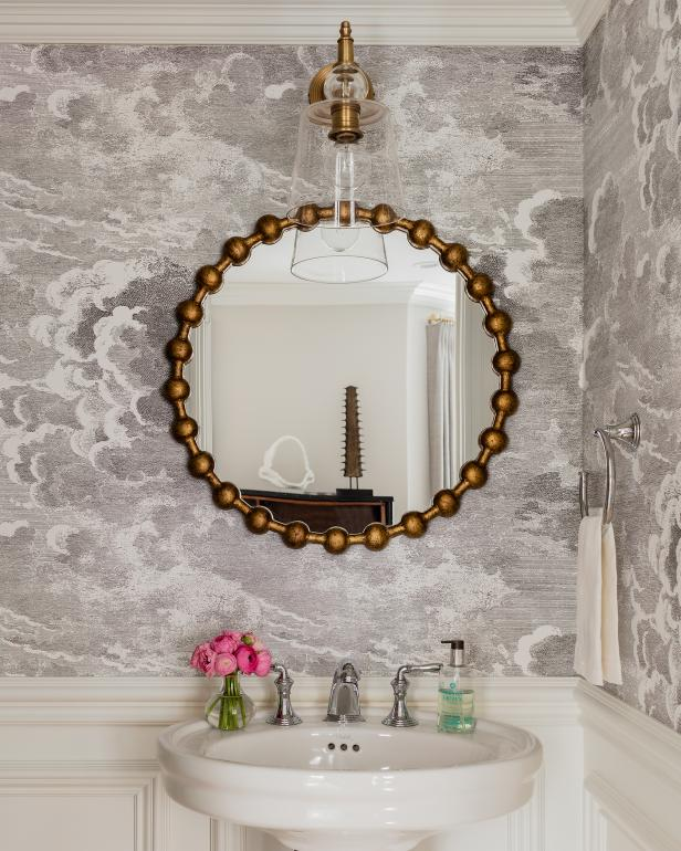 Chic Transitional Bathroom With Classic Wainscoting