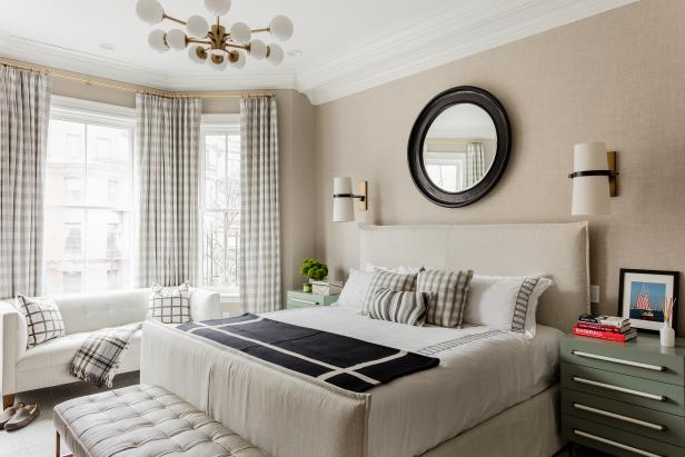 Neutral, Traditional Bedroom With Slipcovered Bed