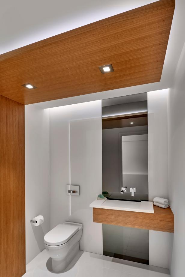Warmth Added to Modern Bathroom with Wood Panels