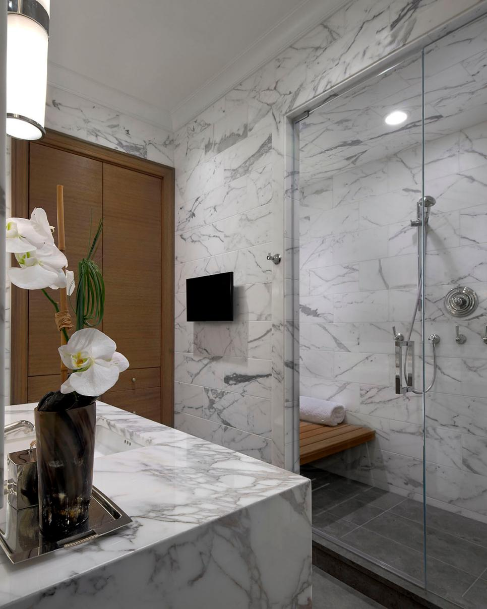 White & Gray Marble Bathroom With Glass Enclosed Shower