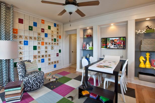 Fun U0026 Colorful Playroom With Custom Scrabble Board Wall