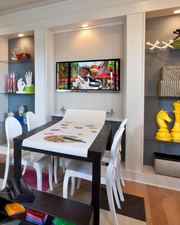 Contemporary Playroom With Art Table & Built-In Glass Shelves for Storage