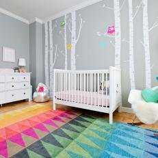 Whimsical Owl Nursery with Decals and Modern Furniture