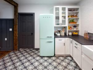 Vintage Inspired Refrigerator and Tile Give Kitchen an Authentic Look