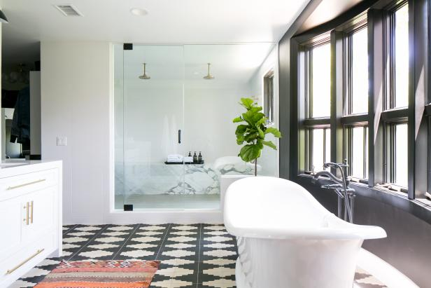 Black and White Spa Bathroom With Geometric Floor