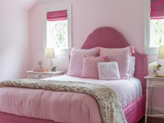 Pink Transitional Girl's Bedroom With J Pillow