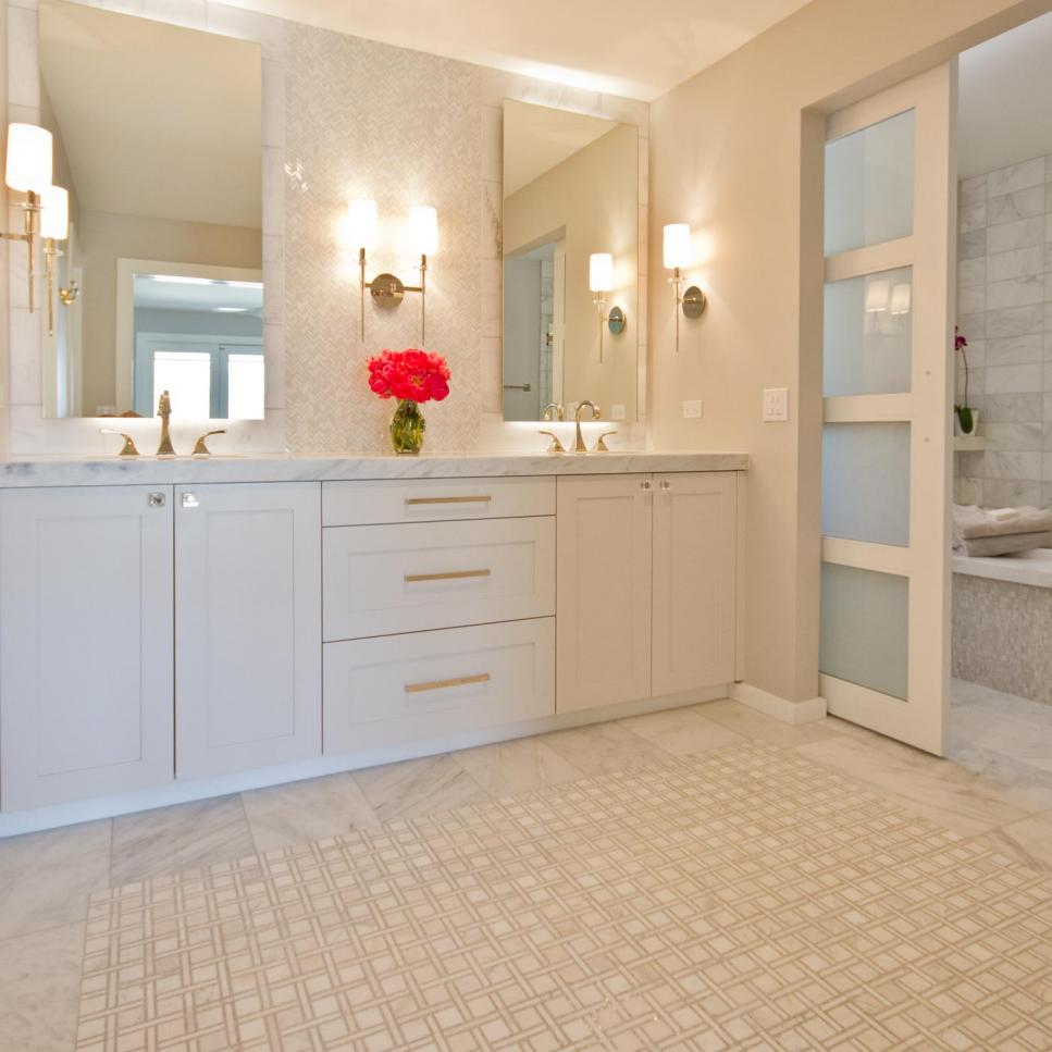 Contemporary Master Bathroom With Marble Vanity