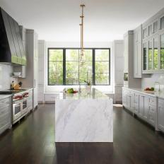 Gray and White Transitional Kitchen With Marble Island