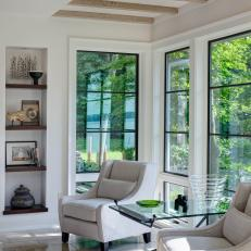 White Sitting Area With Exposed Beams