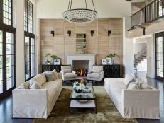 Neutral Transitional Living Room With French Doors