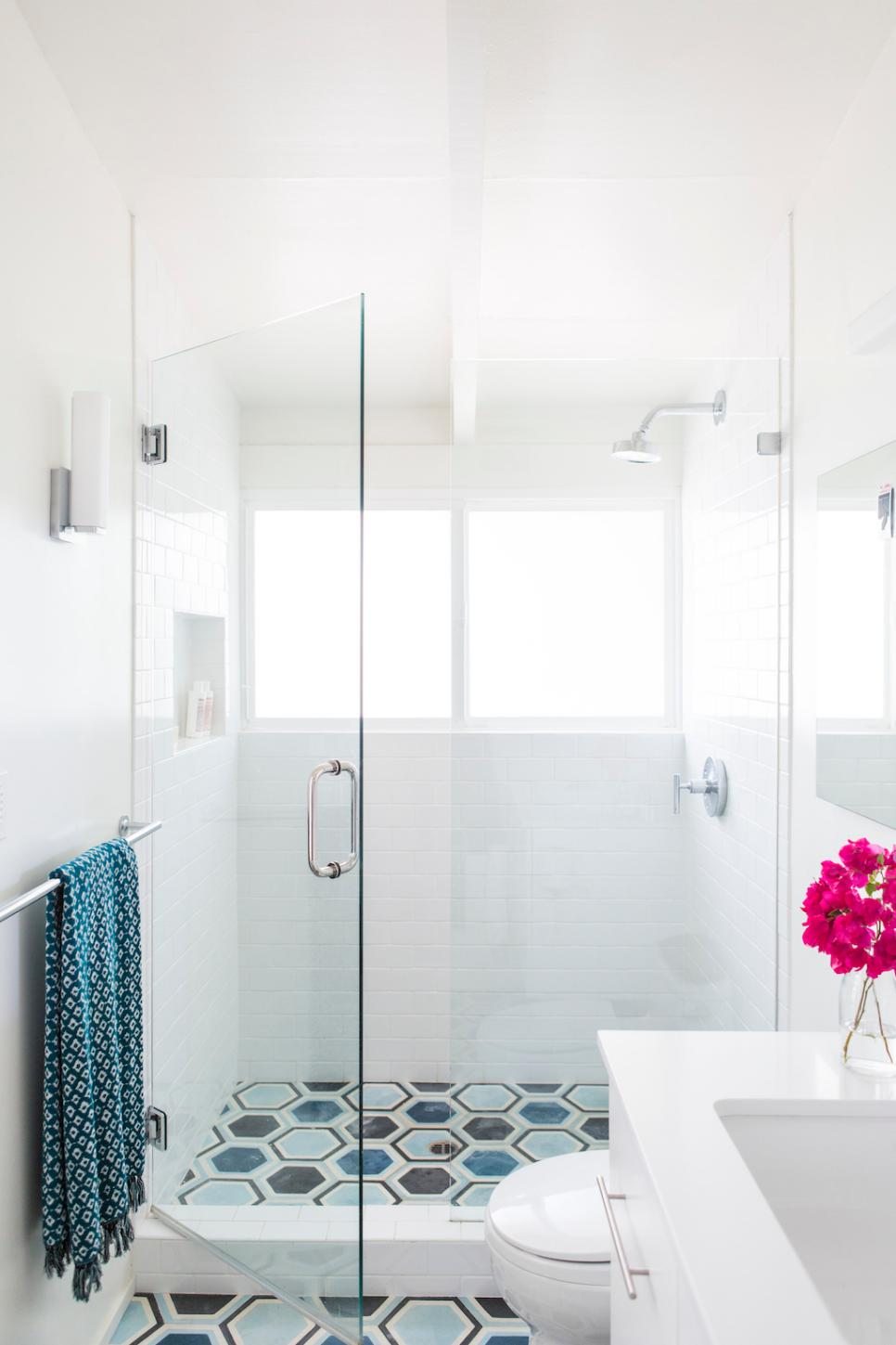Contemporary Bathroom With Glass Shower Door, White Subway Tile