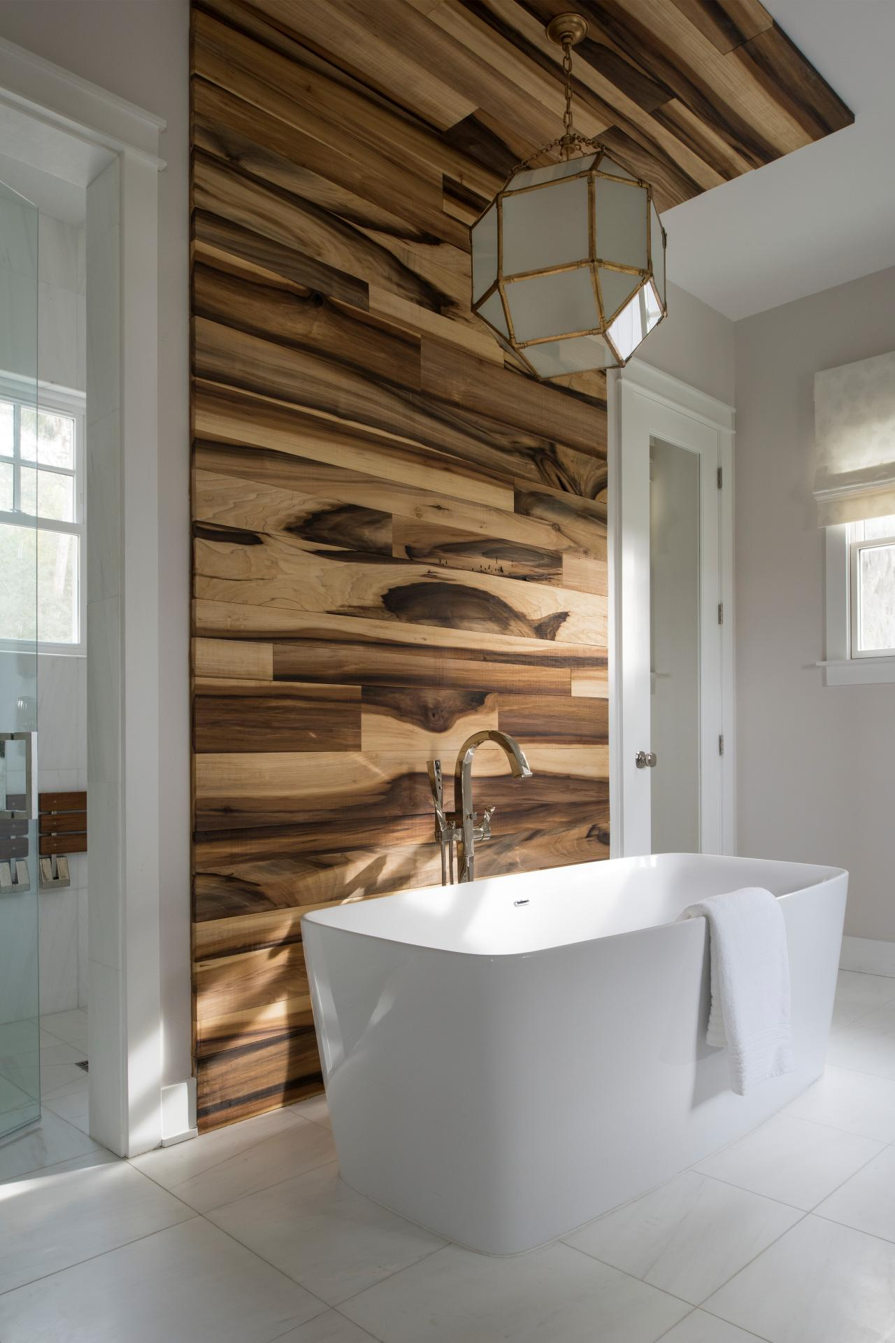 Modern Bathroom With Wood Accent Wall And Hexagon