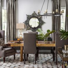 Transitional Dining Room With Gray Upholstered Seating