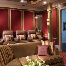 Traditional Home Theater With Red Acoustical Wall Panels