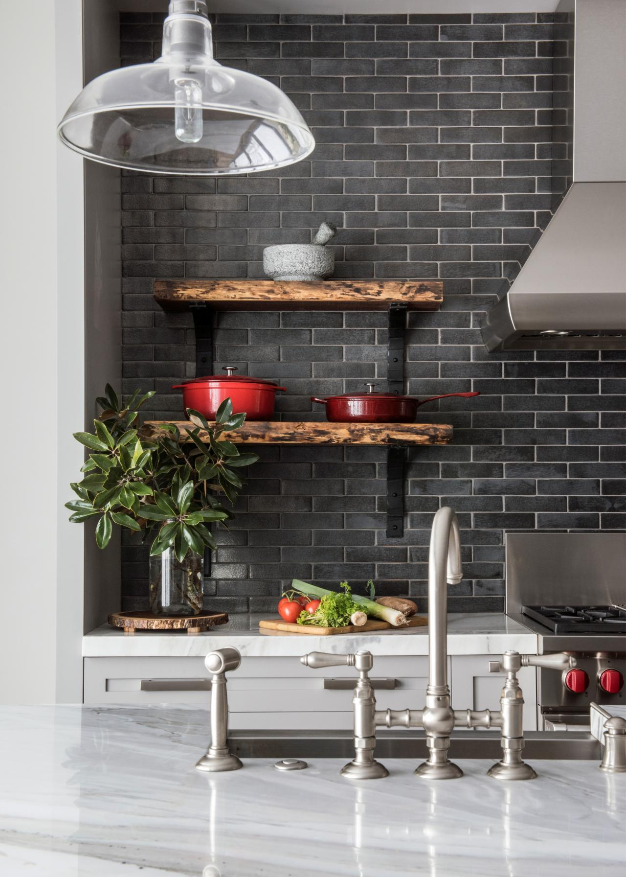 Transitional Kitchen With Gray Subway Tile Backsplash Hgtv