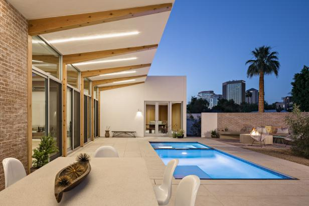 Poolside Dining Area With Exposed Beam Overhang
