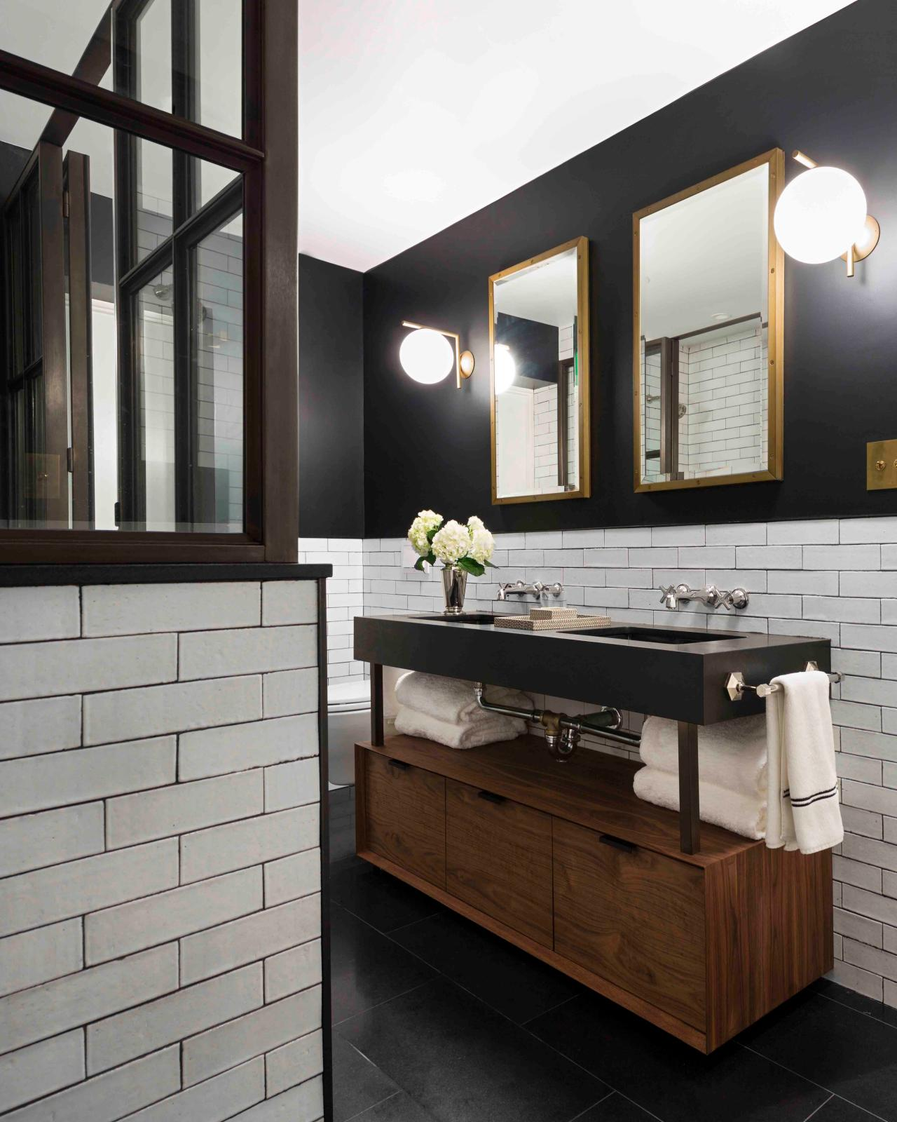 5 fresh bathroom colors to try in 2017 hgtv 39 s decorating for Black floor white walls bathroom