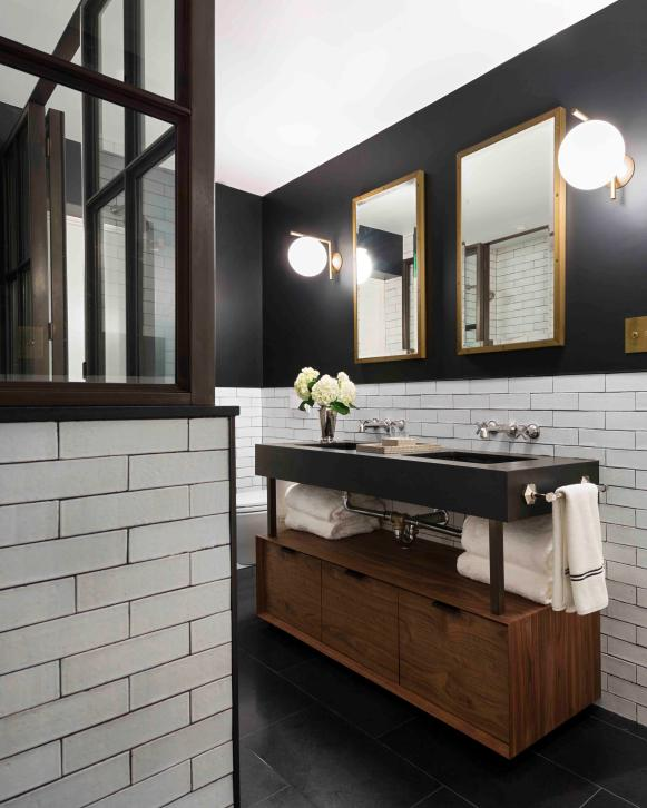 Black Bathroom With Wood Vanity