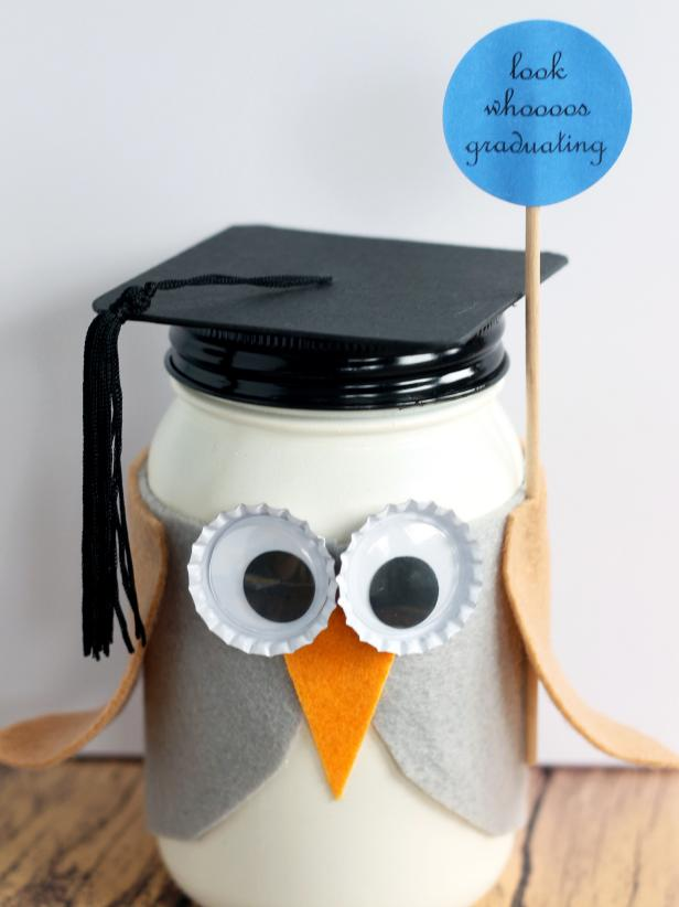 Graduation Owl Mason Jar