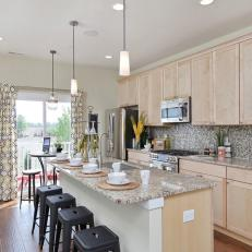 Contemporary Kitchen is Warm, Family Friendly