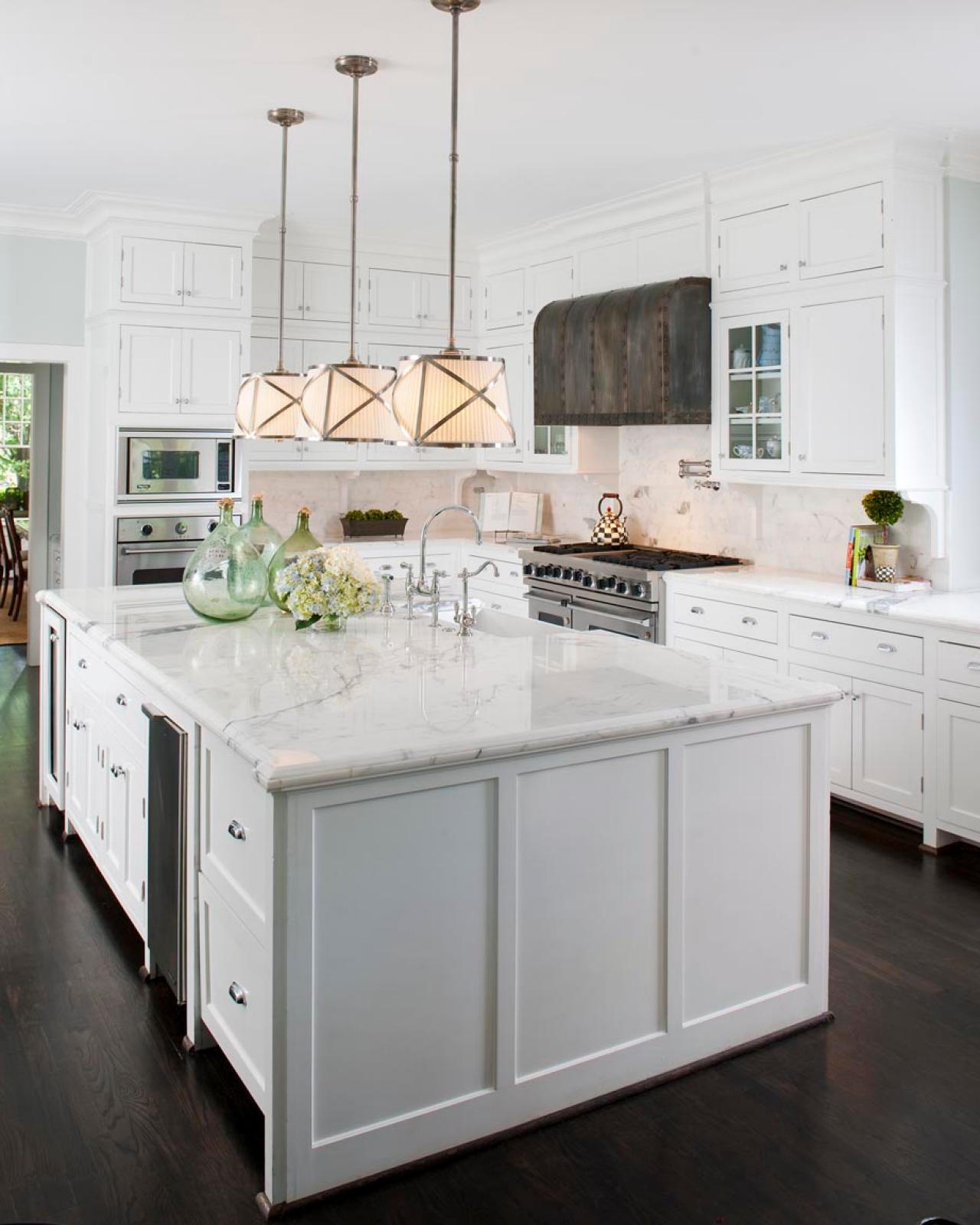 Dark Counters Dark Floors White Cabinets: Bright Transitional Kitchen With White Marble Countertops