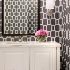 Gray Powder Room With Geometric Wallpaper