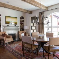 Neutral Mediterranean Breakfast Room With Arch