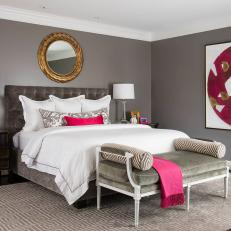 Gray Transitional Master Bedroom With Pink Art