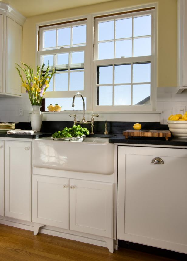 Updated Cabinets and Appliances in Tudor Kitchen Blend Seamlessly