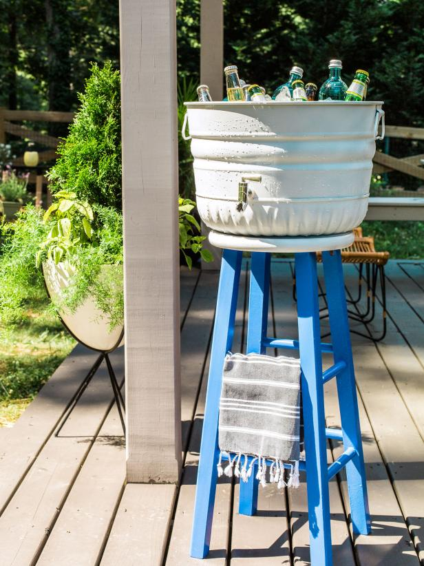 DIY Upcycled Stool Beverage Station