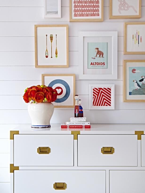 White Coastal Kid's Room With White Dresser, Colorful Gallery Wall
