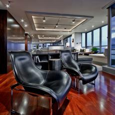 Sleek, Contemporary Family Room With Views