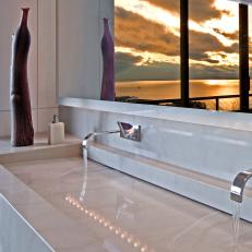 Custom Stone Sink in Contemporary Bathroom