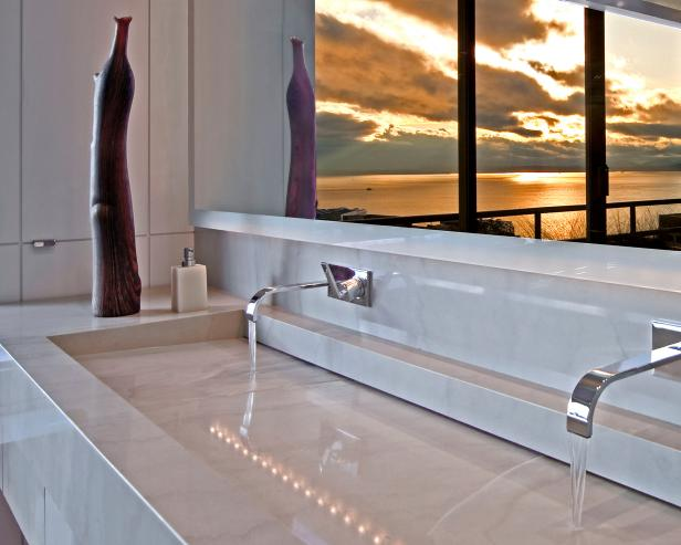 Contemporary Bathroom With Custom Stone Sink