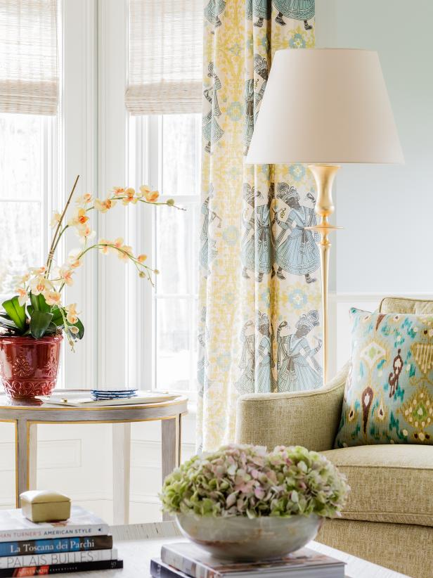 Yellow And Blue Patterned Curtains In Living Room