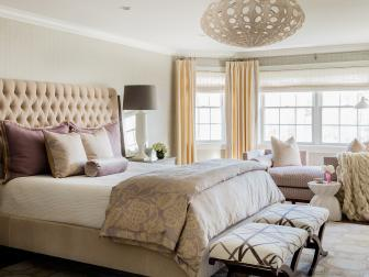 Neutral Transitional Bedroom With Purple Accents